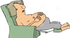 shirtless-man-asleep-chair-illustration-depicting-recliner-61805417