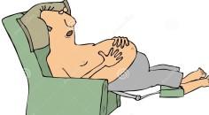 shirtless-man-asleep-chair-illustration-depicting-recliner-61805417